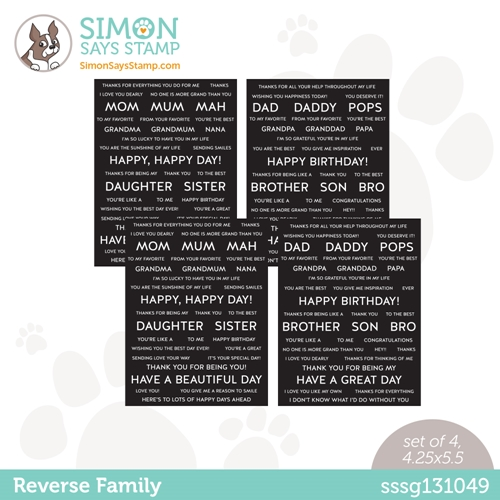 Simon Says Stamp Sentiment Strips REVERSE FAMILY sssg131049 All The Feels Preview Image