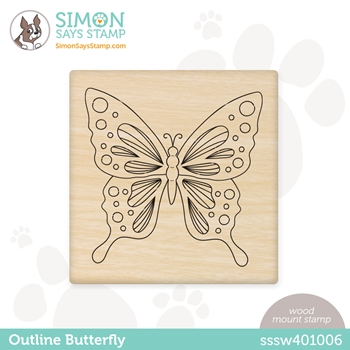Simon Says Wood Stamp OUTLINE BUTTERFLY sssw401006 All The Feels