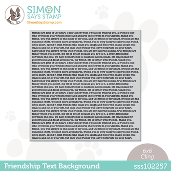 Simon Says Cling Stamp FRIENDSHIP TEXT BACKGROUND sss102257 All The Feels