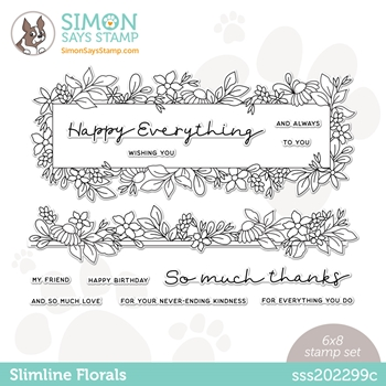 Simon Says Clear Stamps SLIMLINE FLORALS sss202299c All The Feels