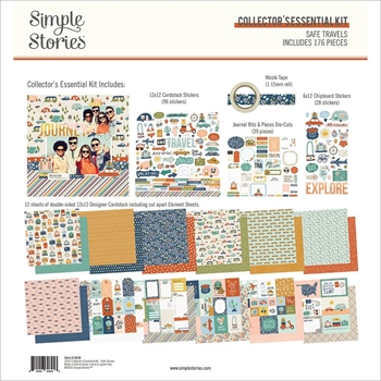 Simple Stories SAFE TRAVELS 12 x 12 Collector's Essential Kit 14830*