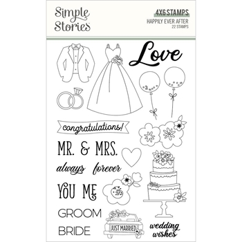 Simple Stories HAPPILY EVER AFTER Clear Stamp Set 15525