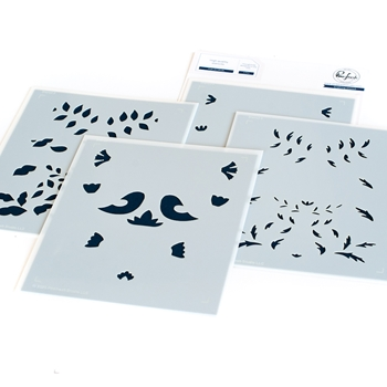 PinkFresh Studio FOLK ART BIRDS Layering Stencil Set 108221