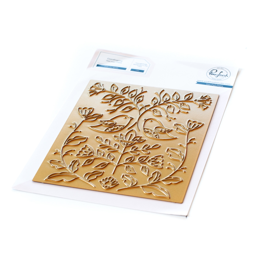 PinkFresh Studio FOLK ART BIRDS Hot Foil Plate 108321 zoom image