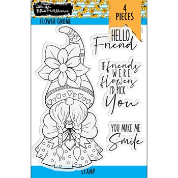 Brutus Monroe FLOWER GNOME Clear Stamps bru4079