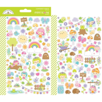 Doodlebug FAIRY GARDEN Mini Icons Stickers 7210