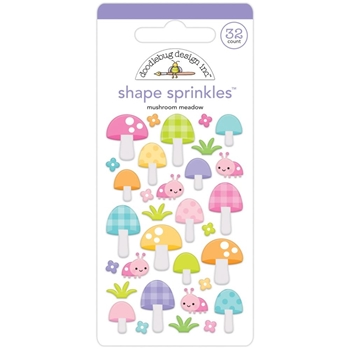 Doodlebug MUSHROOM MEADOW Fairy Garden Shape Sprinkles 7203