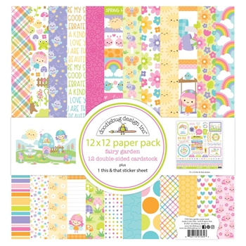 Doodlebug FAIRY GARDEN 12x12 Inch Paper Pack 7234