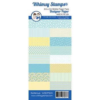 Whimsy Stamps SLIMLINE BUTTERCUP 8.5 x 3.5 Paper Pack WSDPS04
