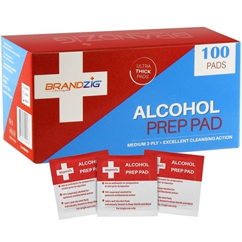 Brandzig ALCOHOL PREP PAD WIPES 100 count cmd2594