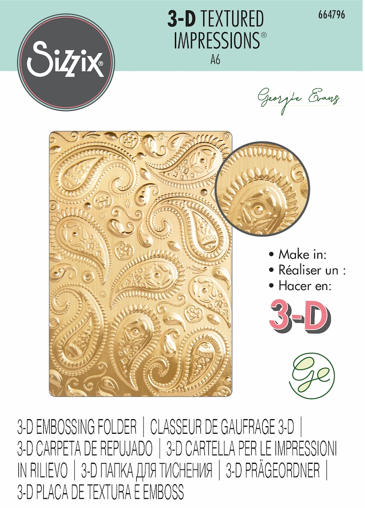 Sizzix Textured Impressions PAISLEY 3D Embossing Folder 664796 zoom image