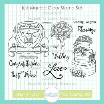 Sweet 'N Sassy JUST MARRIED Clear Stamp Set nbsns21007