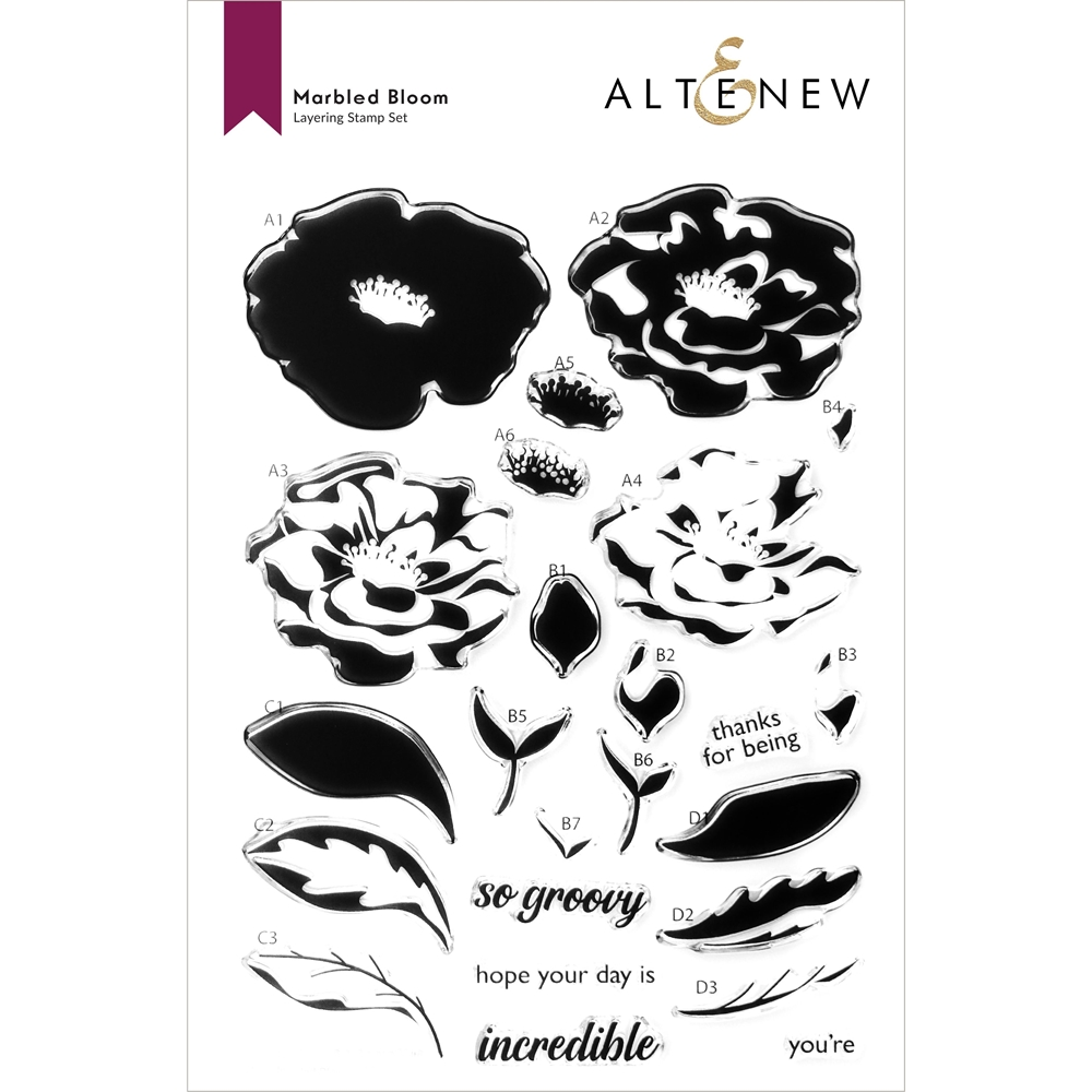 Altenew MARBLED BLOOM Clear Stamps ALT6033 zoom image