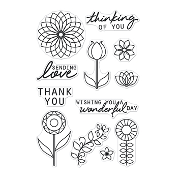 Hero Arts Clear Stamps LINE ART FLOWERS CM534
