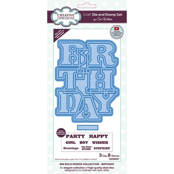 Creative Expressions BIG BOLD WORDS BIRTHDAY Sue Wilson Die and Stamp Set cedsd007*