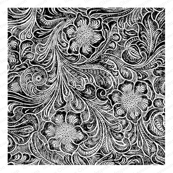 Impression Obsession Cling Stamp TOOLED LEATHER Cover a Card CC417