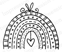 Impression Obsession Cling Stamp RAINBOW HEART C12357