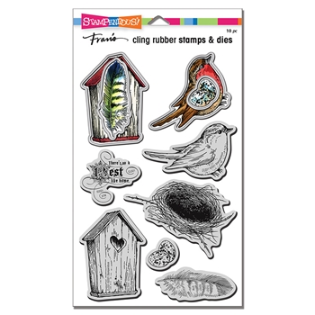 Stampendous BIRD COLLAGE Stamp and Die Set cld21