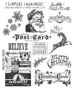 Tim Holtz Cling Rubber Stamps MINI HOLIDAYS CMS066 Preview Image