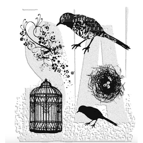 Tim Holtz Cling Rubber Stamps ARTFUL FLIGHT Bird Cage CMS069 Preview Image
