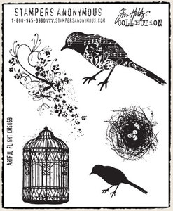 Tim Holtz Cling Rubber Stamps ARTFUL FLIGHT Bird Cage Stampers Anonymous CMS069 zoom image