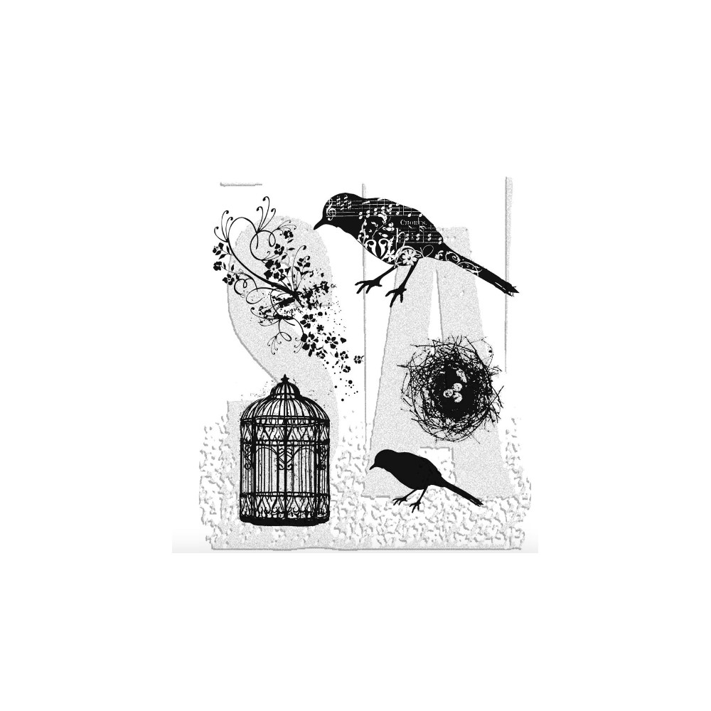 Tim Holtz Cling Rubber Stamps ARTFUL FLIGHT Bird Cage CMS069 zoom image