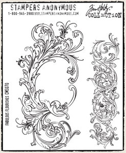 Tim Holtz Cling Rubber Stamps FABULOUS FLOURISHES Stampers Anonymous CMS070*