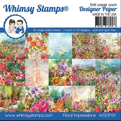 Whimsy Stamps FLORAL IMPRESSIONS 6 x 6 Paper Pads WSDP31 zoom image