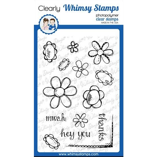 Whimsy Stamps FADOODLE FLOWERS Clear Stamps CWSD276a Preview Image