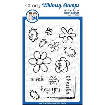 Whimsy Stamps FADOODLE FLOWERS Clear Stamps CWSD276a