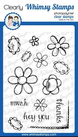 Whimsy Stamps FADOODLE FLOWERS Clear Stamps CWSD276a zoom image