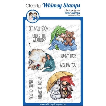 Whimsy Stamps GNOME GET WELL Clear Stamps C1111a
