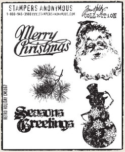 Tim Holtz Cling Rubber Stamps RETRO HOLIDAY cms067*