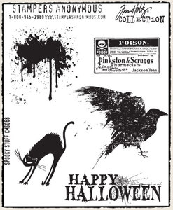 Tim Holtz Cling Rubber Stamps SPOOKY STUFF Halloween Stampers Anonymous CMS068