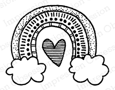 Impression Obsession Cling Stamp RAINBOW AND CLOUDS D12350