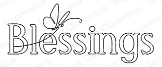 Impression Obsession Cling Stamp BLESSINGS D20928