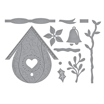 S5 449 Spellbinders BUILD A WINTER BIRDHOUSE Etched Dies
