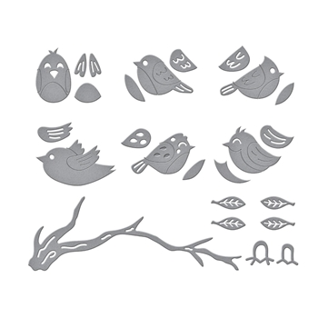 S4 1107 Spellbinders SWEET BIRDS ON A BRANCH Etched Dies