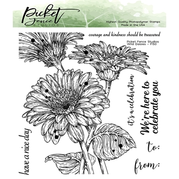 Picket Fence Studios WILD DAISIES Clear Stamps f150