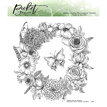 Picket Fence Studios BEAUTIFUL GIRLS FLOWER WREATH Clear Stamps bg126
