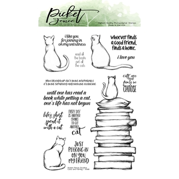 Picket Fence Studios CATS ARE FAMILY Clear Stamps a156
