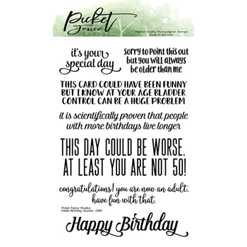 Picket Fence Studios INSIDE QUOTES:  BIRTHDAY Clear Stamps s187