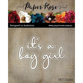 Paper Rose IT'S A BOY GIRL FINE SCRIPT Dies 21426