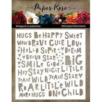 Paper Rose LITTLE TOTS WORDS 6x6 Stencil 21888