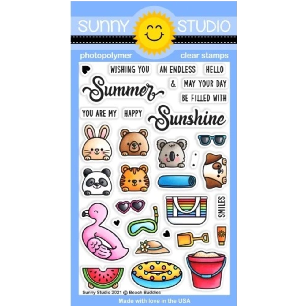 Sunny Studio BEACH BUDDIES Clear Stamps SSCL 296 zoom image