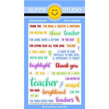 Sunny Studio TEACHER APPRECIATION Clear Stamps SSCL 303