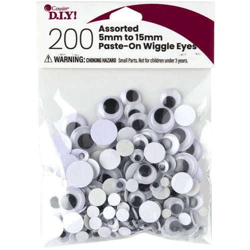 Cousin PASTE ON WIGGLY EYES 200 Count Assorted 40000925 Preview Image