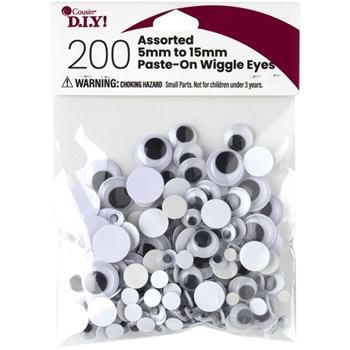 Cousin PASTE ON WIGGLY EYES 200 Count Assorted 40000925