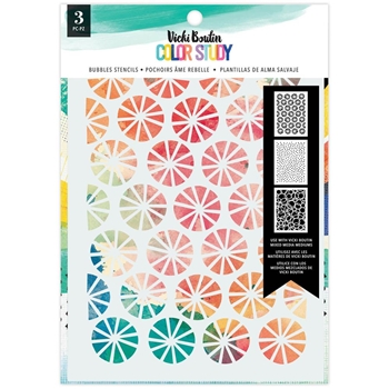American Crafts Vicki Boutin COLOR STUDY BUBBLES 3 Pack Stencils 34005693