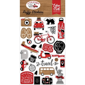 Echo Park LET'S GO ANYWHERE Puffy Stickers lga242066